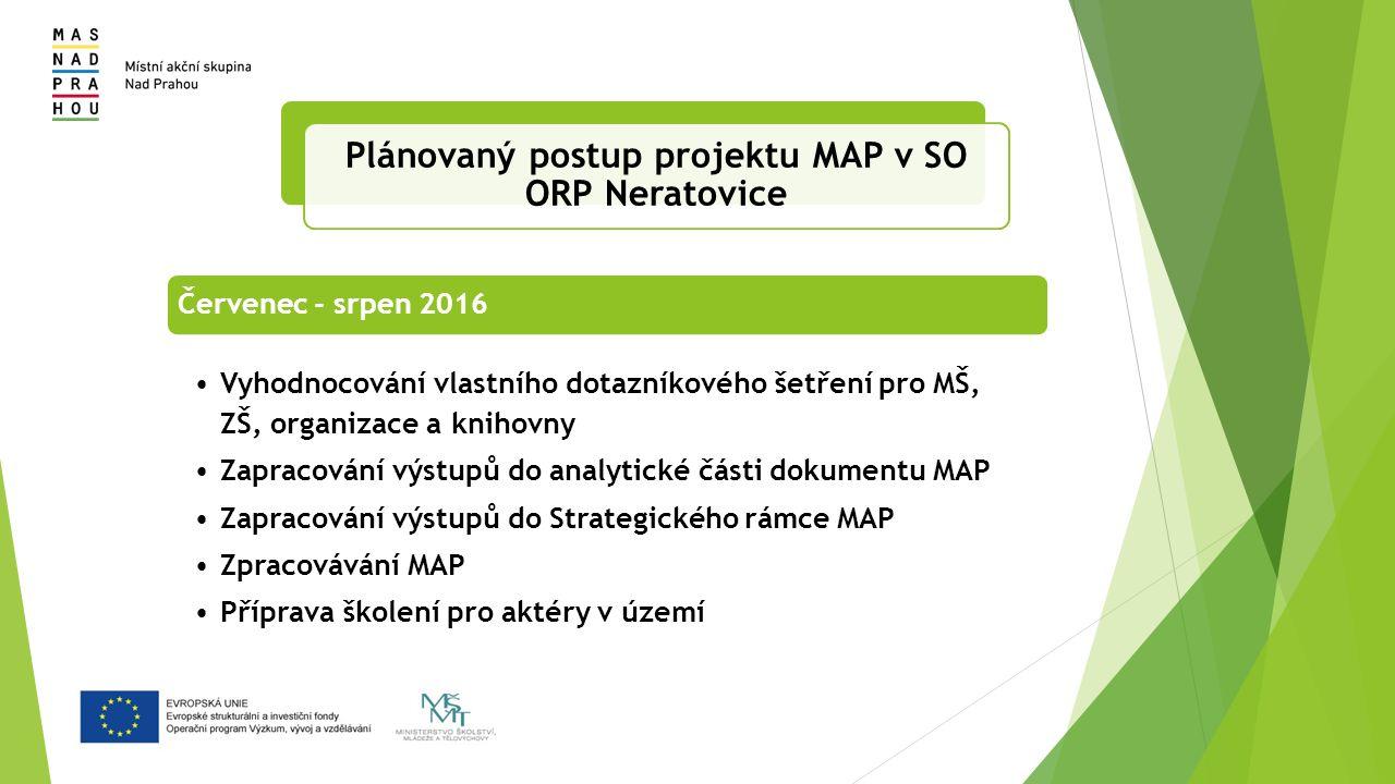 Červenec - srpen 2016 Vyhodnocování vlastního dotazníkového šetření pro MŠ, ZŠ, organizace a knihovny Zapracování výstupů do analytické části dokumentu MAP Zapracování výstupů do Strategického rámce MAP Zpracovávání MAP Příprava školení pro aktéry v území Plánovaný postup projektu MAP v SO ORP Neratovice
