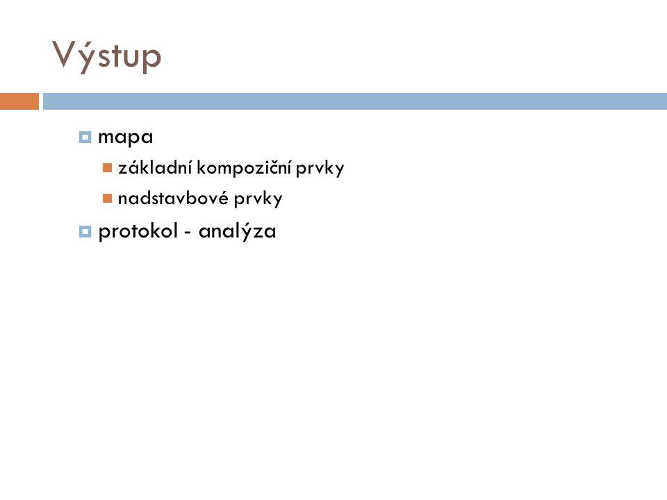 Výstup  mapa základní kompoziční prvky nadstavbové prvky  protokol - analýza