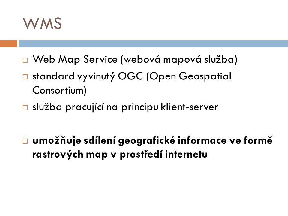 WMS  Web Map Service (webová mapová služba)  standard vyvinutý OGC (Open Geospatial Consortium)  služba pracující na principu klient-server  umožň
