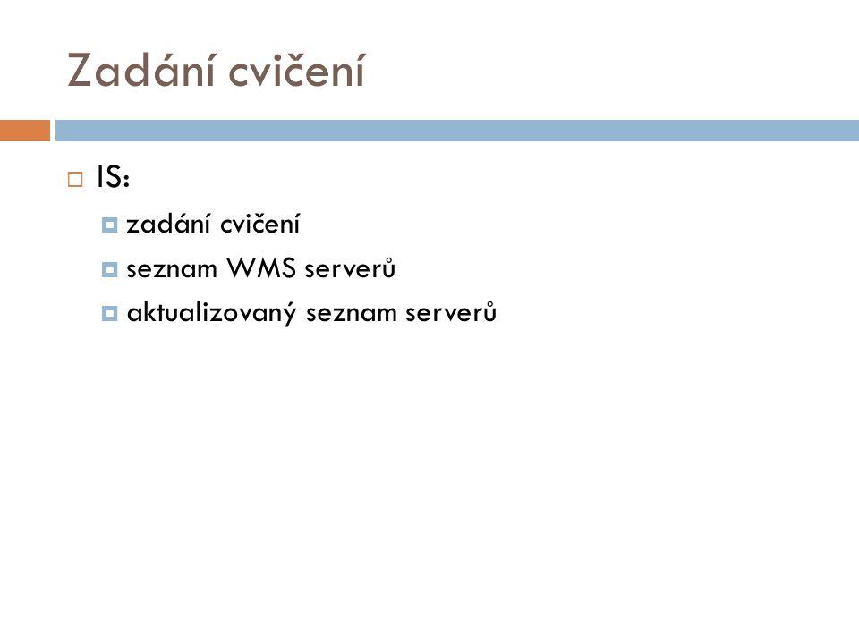 Zadání cvičení  IS:  zadání cvičení  seznam WMS serverů  aktualizovaný seznam serverů