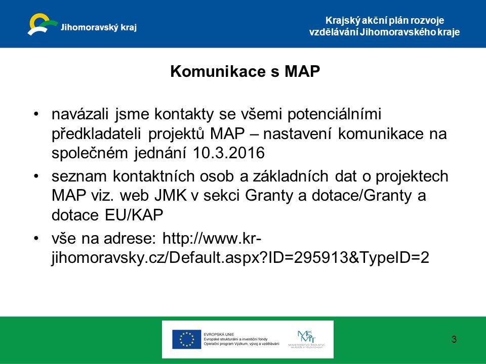 Krajský akční plán rozvoje vzdělávání Jihomoravského kraje Komunikace s MAP navázali jsme kontakty se všemi potenciálními předkladateli projektů MAP – nastavení komunikace na společném jednání 10.3.2016 seznam kontaktních osob a základních dat o projektech MAP viz.