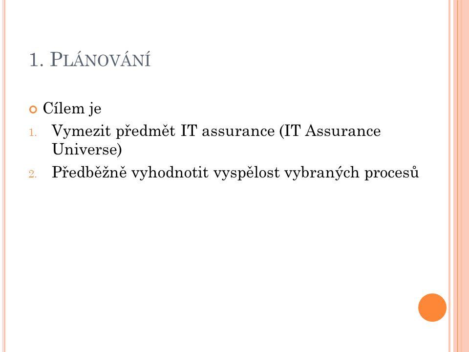 1. P LÁNOVÁNÍ Cílem je 1. Vymezit předmět IT assurance (IT Assurance Universe) 2. Předběžně vyhodnotit vyspělost vybraných procesů