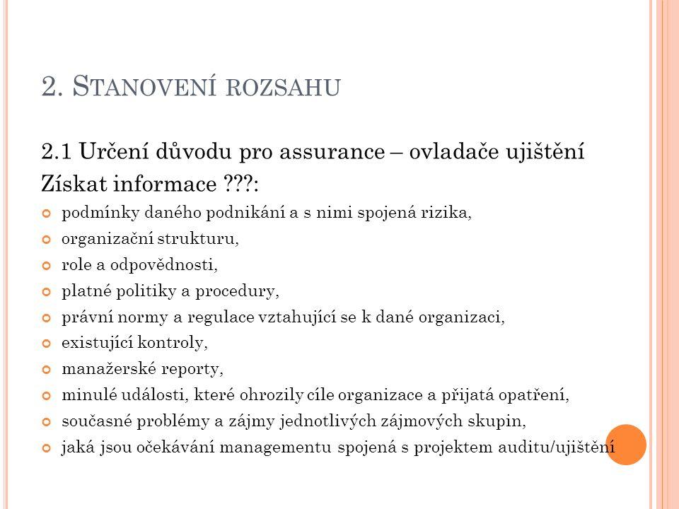 2. S TANOVENÍ ROZSAHU 2.1 Určení důvodu pro assurance – ovladače ujištění Získat informace ???: podmínky daného podnikání a s nimi spojená rizika, org