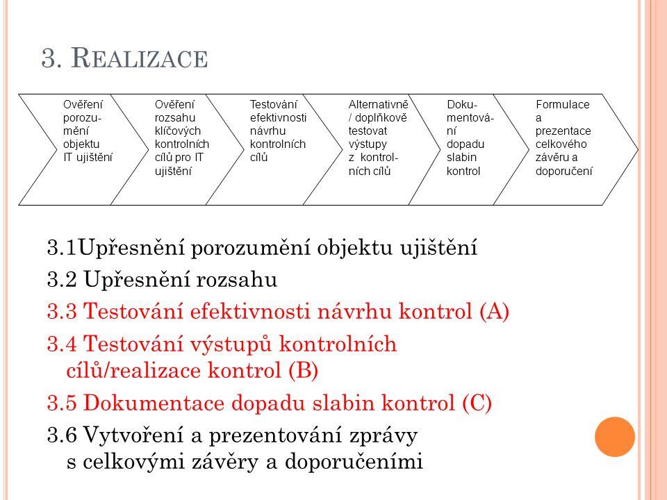 3. R EALIZACE 3.1Upřesnění porozumění objektu ujištění 3.2 Upřesnění rozsahu 3.3 Testování efektivnosti návrhu kontrol (A) 3.4 Testování výstupů kontr