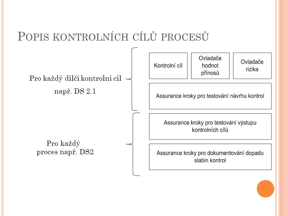 P OPIS KONTROLNÍCH CÍLŮ PROCESŮ Pro každý dílčí kontrolní cíl např. DS 2.1 Pro každý proces např. DS2