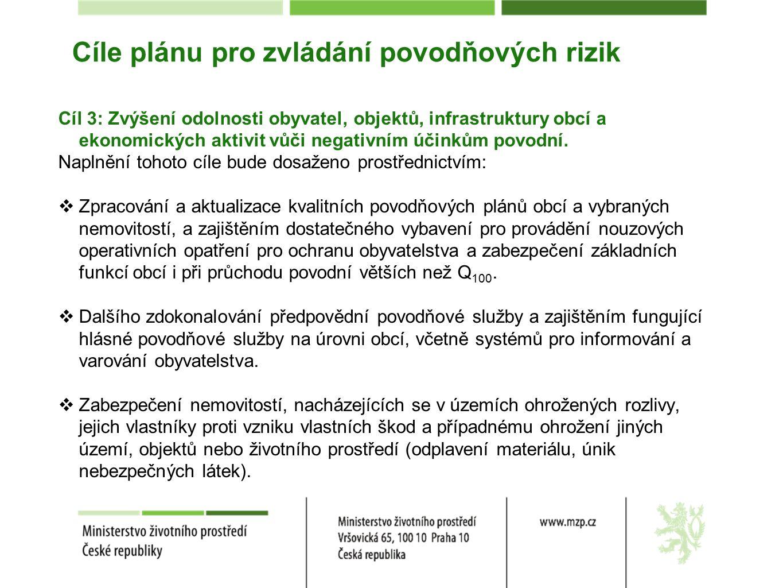 Cíle plánu pro zvládání povodňových rizik Cíl 3: Zvýšení odolnosti obyvatel, objektů, infrastruktury obcí a ekonomických aktivit vůči negativním účinkům povodní.
