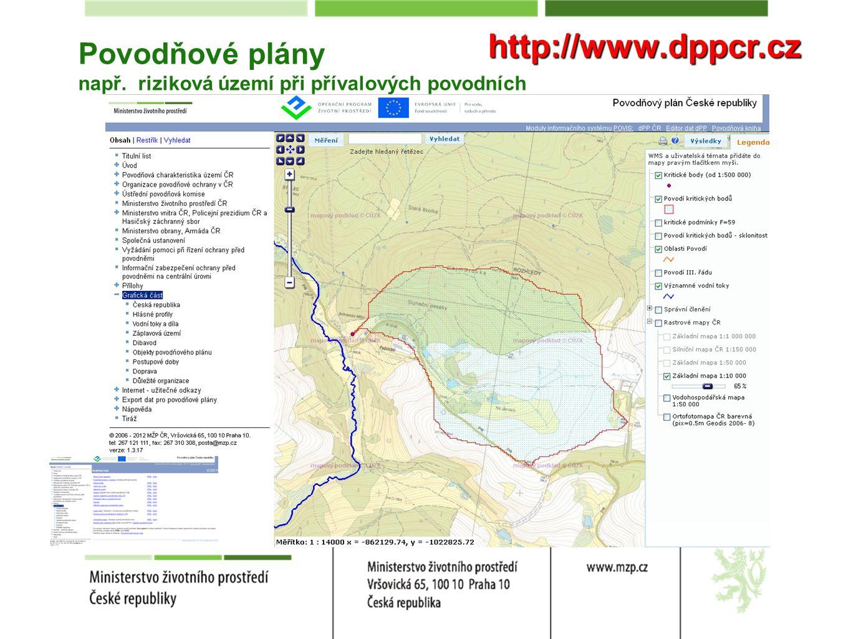 Povodňové plány např. riziková území při přívalových povodních http://www.dppcr.cz
