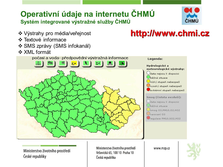 Operativní údaje na internetu ČHMÚ Systém integrované výstražné služby ČHMÚ  Výstrahy pro média/veřejnost  Textové informace  SMS zprávy (SMS infokanál)  XML formát http://www.chmi.cz