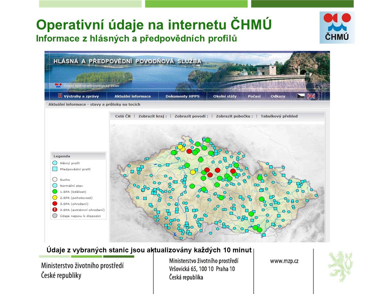 Operativní údaje na internetu ČHMÚ Informace z hlásných a předpovědních profilů Údaje z vybraných stanic jsou aktualizovány každých 10 minut