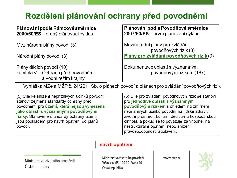 Rozdělení plánování ochrany před povodněmi Plánování podle Rámcové směrnice 2000/60/ES – druhý plánovací cyklus Mezinárodní plány povodí (3) Národní plány povodí (3) Plány dílčích povodí (10) kapitola V – Ochrana před povodněmi a vodní režim krajiny Plánování podle Povodňové směrnice 2007/60/ES – první plánovací cyklus Mezinárodní plány pro zvládání povodňových rizik (3) Plány pro zvládání povodňových rizik (3) Dokumentace oblastí s významným povodňovým rizikem (187) Vyhláška MZe a MŽP č.