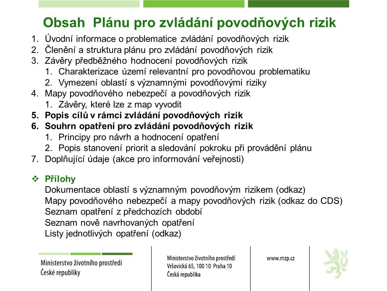 Obsah Plánu pro zvládání povodňových rizik 1.Úvodní informace o problematice zvládání povodňových rizik 2.Členění a struktura plánu pro zvládání povodňových rizik 3.Závěry předběžného hodnocení povodňových rizik 1.Charakterizace území relevantní pro povodňovou problematiku 2.Vymezení oblastí s významnými povodňovými riziky 4.Mapy povodňového nebezpečí a povodňových rizik 1.Závěry, které lze z map vyvodit 5.Popis cílů v rámci zvládání povodňových rizik 6.Souhrn opatření pro zvládání povodňových rizik 1.Principy pro návrh a hodnocení opatření 2.Popis stanovení priorit a sledování pokroku při provádění plánu 7.Doplňující údaje (akce pro informování veřejnosti)  Přílohy Dokumentace oblastí s významným povodňovým rizikem (odkaz) Mapy povodňového nebezpečí a mapy povodňových rizik (odkaz do CDS) Seznam opatření z předchozích období Seznam nově navrhovaných opatření Listy jednotlivých opatření (odkaz)