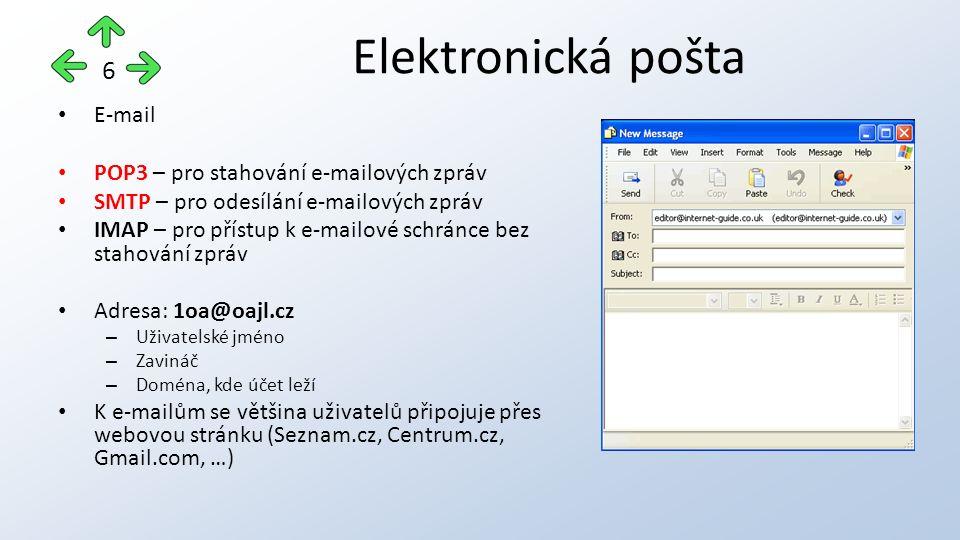 E-mail POP3 – pro stahování e-mailových zpráv SMTP – pro odesílání e-mailových zpráv IMAP – pro přístup k e-mailové schránce bez stahování zpráv Adresa: 1oa@oajl.cz – Uživatelské jméno – Zavináč – Doména, kde účet leží K e-mailům se většina uživatelů připojuje přes webovou stránku (Seznam.cz, Centrum.cz, Gmail.com, …) Elektronická pošta 6
