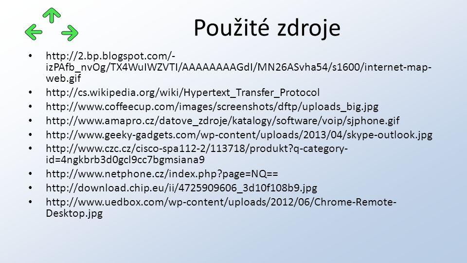 http://2.bp.blogspot.com/- izPAfb_nvOg/TX4WuIWZVTI/AAAAAAAAGdI/MN26ASvha54/s1600/internet-map- web.gif http://cs.wikipedia.org/wiki/Hypertext_Transfer_Protocol http://www.coffeecup.com/images/screenshots/dftp/uploads_big.jpg http://www.amapro.cz/datove_zdroje/katalogy/software/voip/sjphone.gif http://www.geeky-gadgets.com/wp-content/uploads/2013/04/skype-outlook.jpg http://www.czc.cz/cisco-spa112-2/113718/produkt q-category- id=4ngkbrb3d0gcl9cc7bgmsiana9 http://www.netphone.cz/index.php page=NQ== http://download.chip.eu/ii/4725909606_3d10f108b9.jpg http://www.uedbox.com/wp-content/uploads/2012/06/Chrome-Remote- Desktop.jpg Použité zdroje