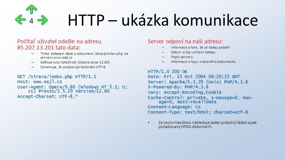HTTP – ukázka komunikace Počítač uživatel odešle na adresu 85.207.13.201 tato data: – Tímto dotazem žádá o dokument /strava/index.php na serveru www.oajl.cz – Sděluje svou totožnost (Opera verze 12.60) – Oznamuje, že podporuje kódování UTF-8 GET /strava/index.php HTTP/1.1 Host: www.oajl.cz User-Agent: Opera/9.80 (Windows NT 5.1; U; cs) Presto/2.5.29 Version/12.60 Accept-Charset: UTF-8,* Server odpoví na naši adresu: – Informace o tom, že se dotaz podařil – Datum a čas vyřízení dotazu – Popis serveru – Informace o typu vráceného dokumentu HTTP/1.0 200 OK Date: Fri, 15 Oct 2004 08:20:25 GMT Server: Apache/1.3.29 (Unix) PHP/4.3.8 X-Powered-By: PHP/4.3.8 Vary: Accept-Encoding,Cookie Cache-Control: private, s-maxage=0, max- age=0, must-revalidate Content-Language: cs Content-Type: text/html; charset=utf-8 Za touto hlavičkou následuje jeden prázdný řádek a pak požadovaný HTML dokument.