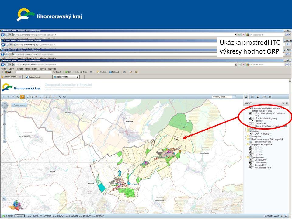 23. dubna 2013 Krajský úřad Jihomoravsk ého kraj e odbor územního plánování a stavebního řádu Ukázka prostředí ITC výkresy hodnot ORP