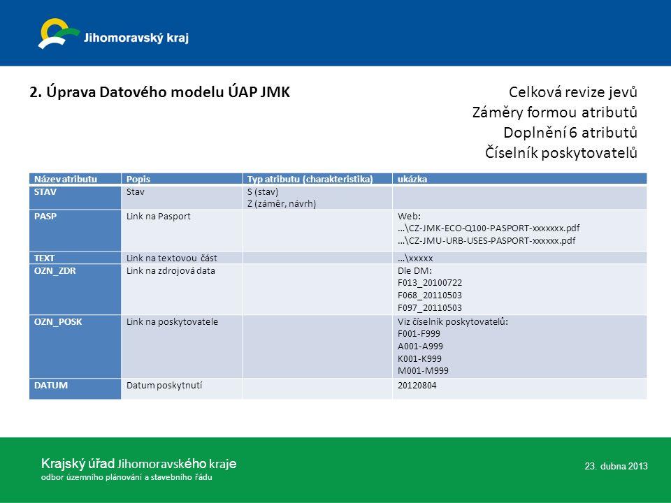 23.dubna 2013 Krajský úřad Jihomoravsk ého kraj e odbor územního plánování a stavebního řádu 3.