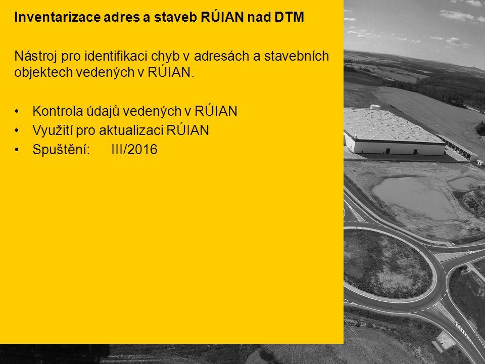Inventarizace adres a staveb RÚIAN nad DTM Nástroj pro identifikaci chyb v adresách a stavebních objektech vedených v RÚIAN.