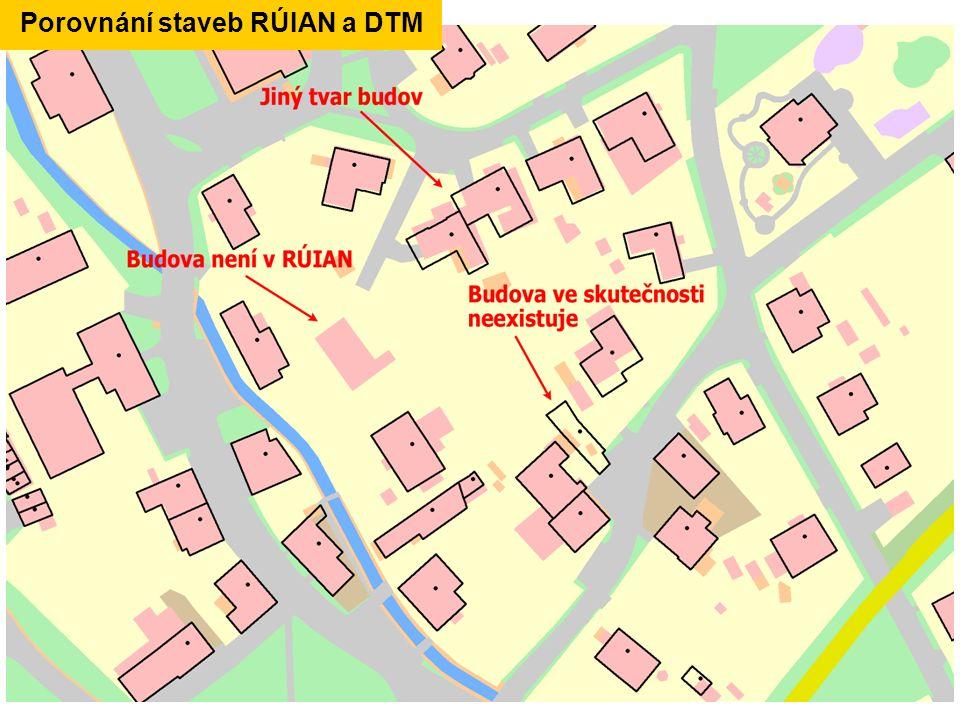Porovnání staveb RÚIAN a DTM
