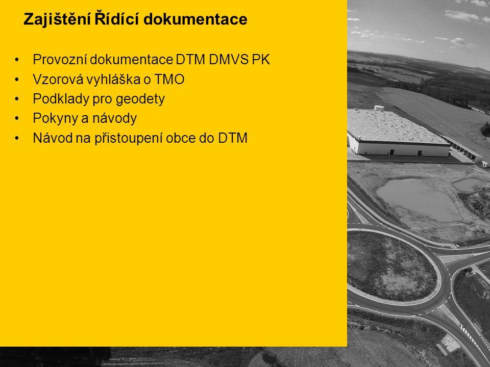 Zajištění Řídící dokumentace Provozní dokumentace DTM DMVS PK Vzorová vyhláška o TMO Podklady pro geodety Pokyny a návody Návod na přistoupení obce do DTM