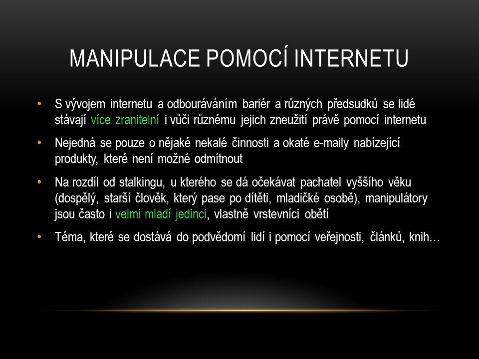 MANIPULACE POMOCÍ INTERNETU S vývojem internetu a odbouráváním bariér a různých předsudků se lidé stávají více zranitelní i vůči různému jejich zneuži