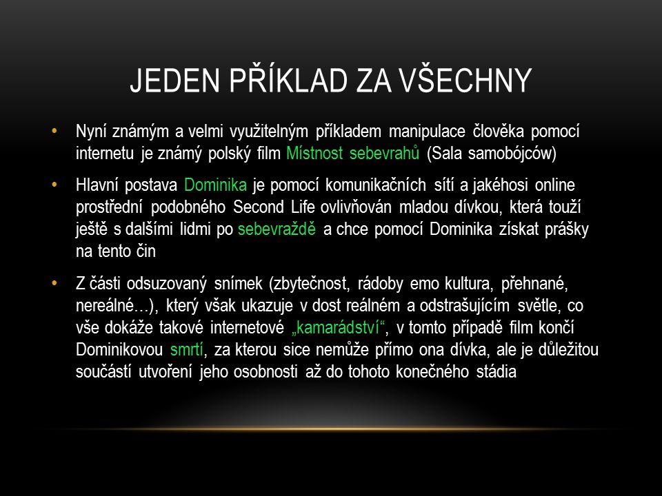 JEDEN PŘÍKLAD ZA VŠECHNY Nyní známým a velmi využitelným příkladem manipulace člověka pomocí internetu je známý polský film Místnost sebevrahů (Sala s