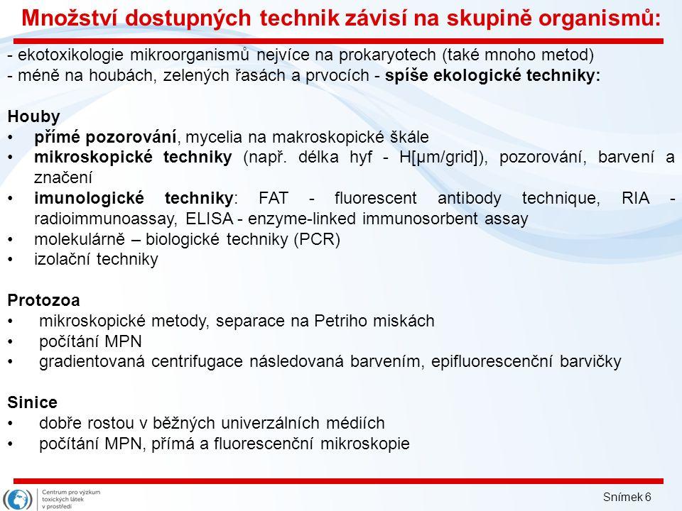 Inovace tohoto předmětu je spolufinancována Evropským sociálním fondem a státním rozpočtem České republiky Kvantifikace mikroorganismů a její využití v ekotoxikologii