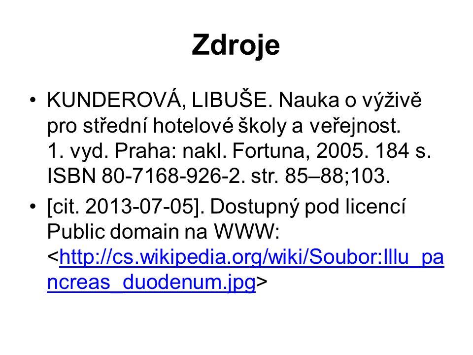 Zdroje KUNDEROVÁ, LIBUŠE. Nauka o výživě pro střední hotelové školy a veřejnost.
