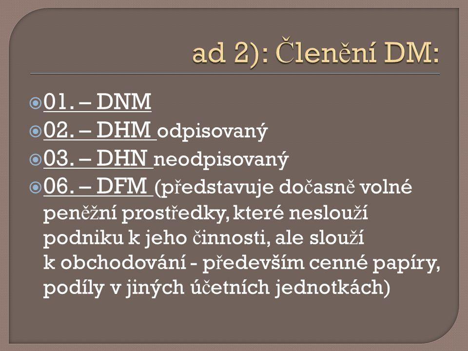  01. – DNM  02. – DHM odpisovaný  03. – DHN neodpisovaný  06. – DFM (p ř edstavuje do č asn ě volné pen ěž ní prost ř edky, které neslou ž í podni