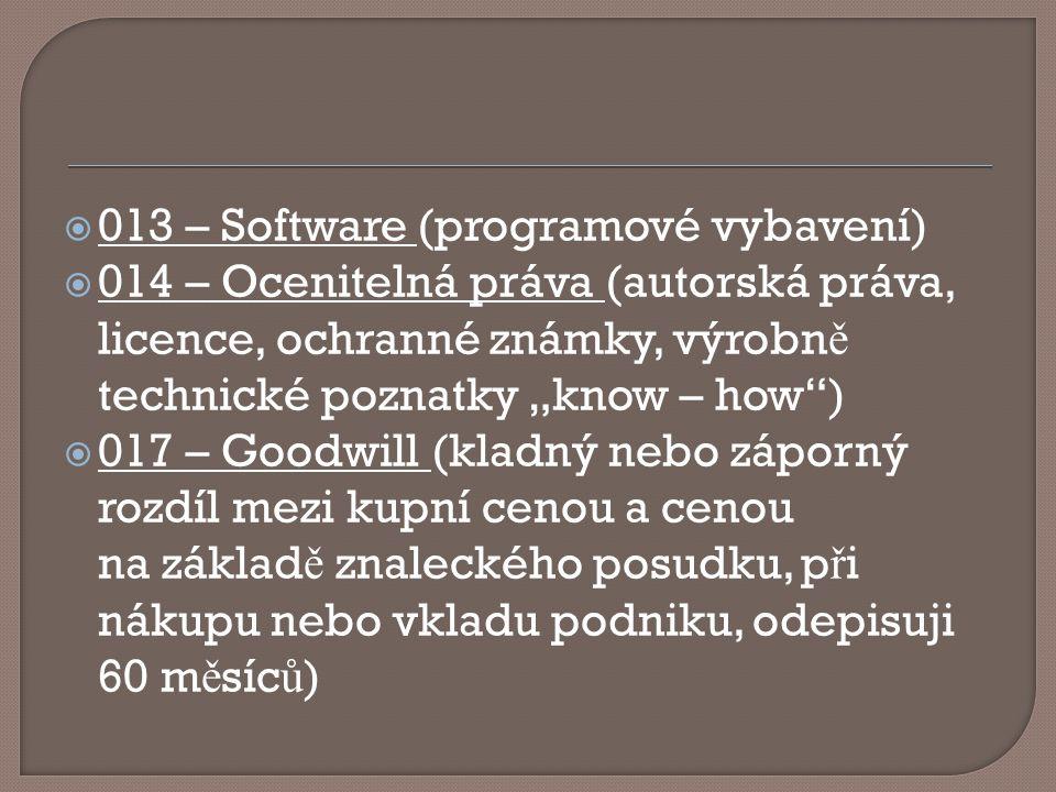 """ 013 – Software (programové vybavení)  014 – Ocenitelná práva (autorská práva, licence, ochranné známky, výrobn ě technické poznatky """"know – how"""") """