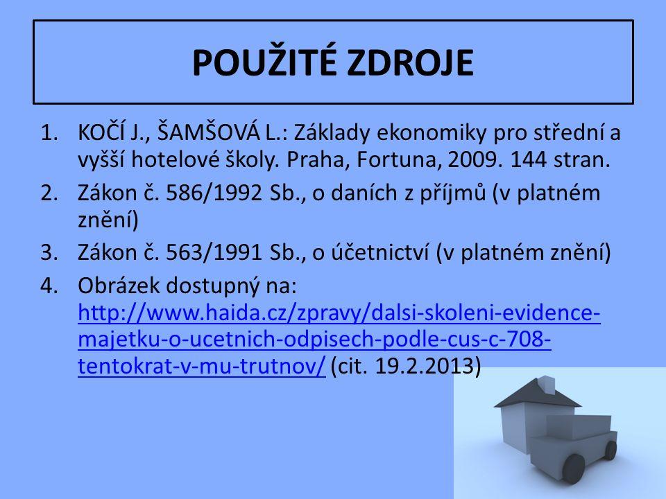 POUŽITÉ ZDROJE 1.KOČÍ J., ŠAMŠOVÁ L.: Základy ekonomiky pro střední a vyšší hotelové školy.