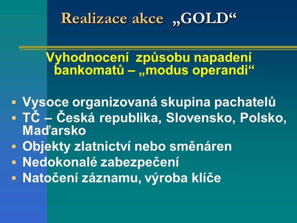 """Realizace akce """"GOLD"""" Vyhodnocení způsobu napadení bankomatů – """"modus operandi""""  Vysoce organizovaná skupina pachatelů  TČ – Česká republika, Sloven"""
