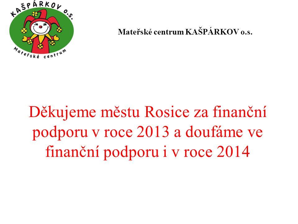 Děkujeme městu Rosice za finanční podporu v roce 2013 a doufáme ve finanční podporu i v roce 2014 Mateřské centrum KAŠPÁRKOV o.s.