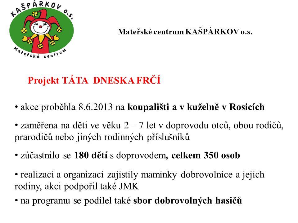Projekt TÁTA DNESKA FRČÍ akce proběhla 8.6.2013 na koupališti a v kuželně v Rosicích zaměřena na děti ve věku 2 – 7 let v doprovodu otců, obou rodičů,