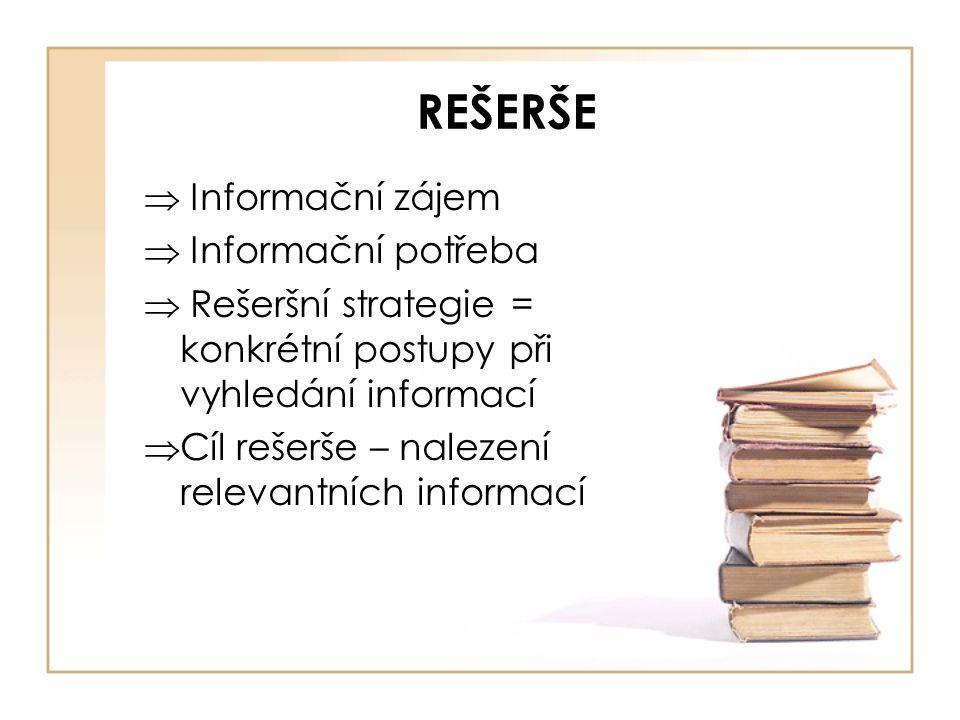REŠERŠE  Informační zájem  Informační potřeba  Rešeršní strategie = konkrétní postupy při vyhledání informací  Cíl rešerše – nalezení relevantních informací