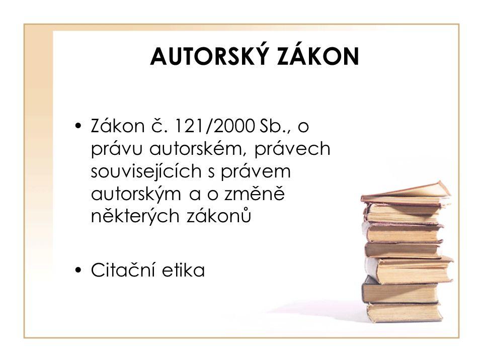 AUTORSKÝ ZÁKON Zákon č.