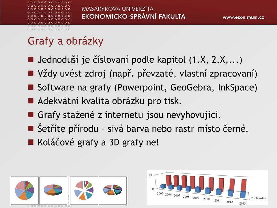 www.econ.muni.cz Grafy a obrázky Jednoduší je číslovaní podle kapitol (1.X, 2.X,...) Vždy uvést zdroj (např. převzaté, vlastní zpracovaní) Software na