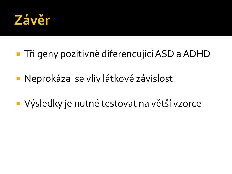  Tři geny pozitivně diferencující ASD a ADHD  Neprokázal se vliv látkové závislosti  Výsledky je nutné testovat na větší vzorce