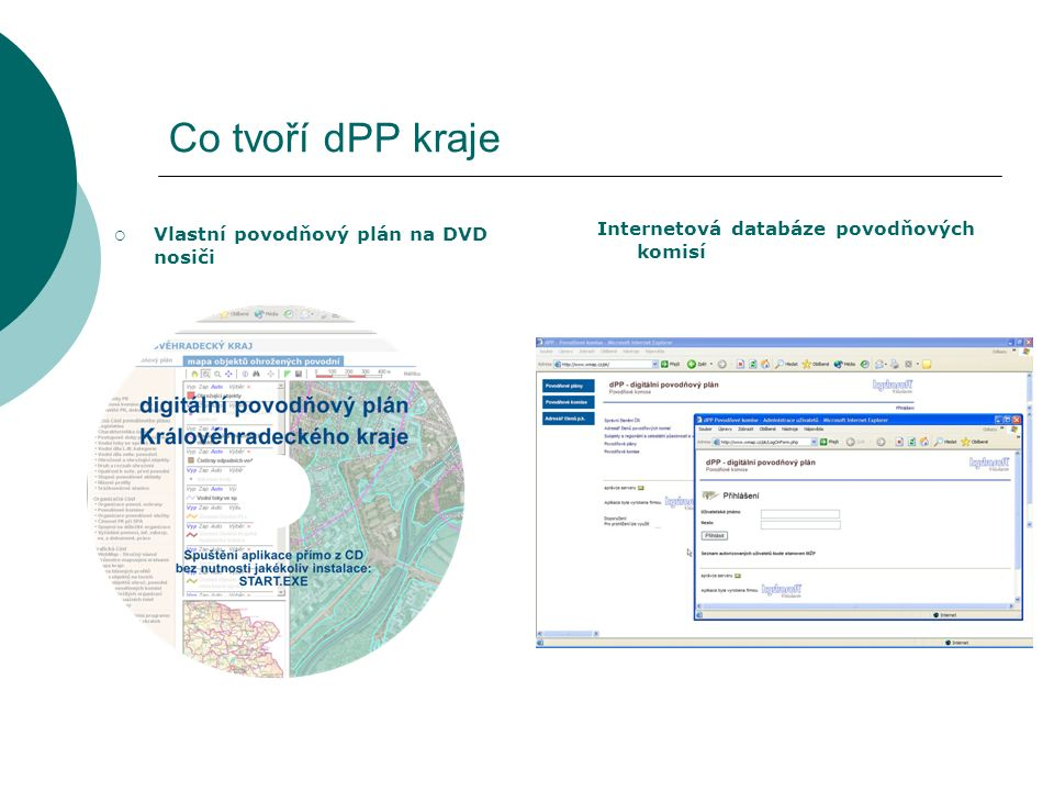 Co tvoří dPP kraje  Vlastní povodňový plán na DVD nosiči Internetová databáze povodňových komisí