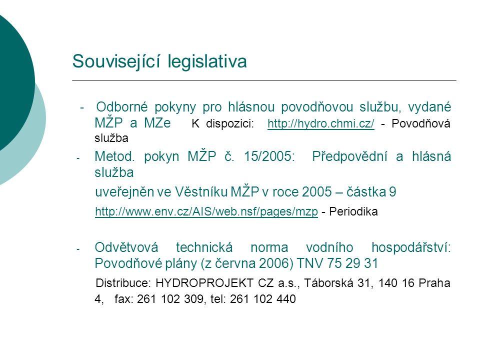 Související legislativa - Odborné pokyny pro hlásnou povodňovou službu, vydané MŽP a MZe K dispozici: http://hydro.chmi.cz/ - Povodňová službahttp://hydro.chmi.cz/ - Metod.