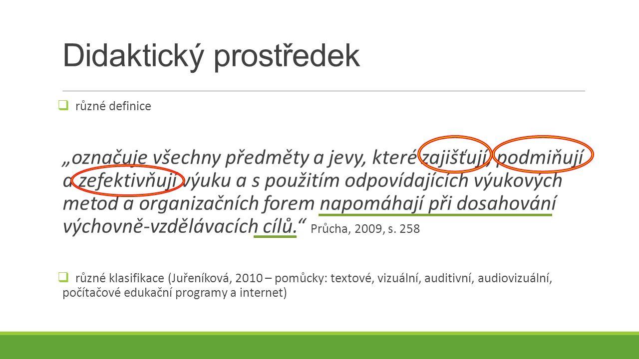 Učební pomůcky (Průcha, 2009, s.