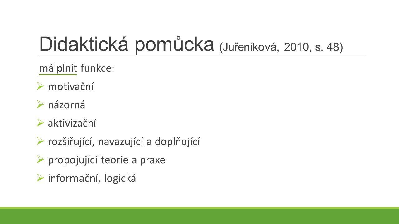 Didaktická pomůcka (Juřeníková, 2010, s. 48) má plnit funkce:  motivační  názorná  aktivizační  rozšiřující, navazující a doplňující  propojující