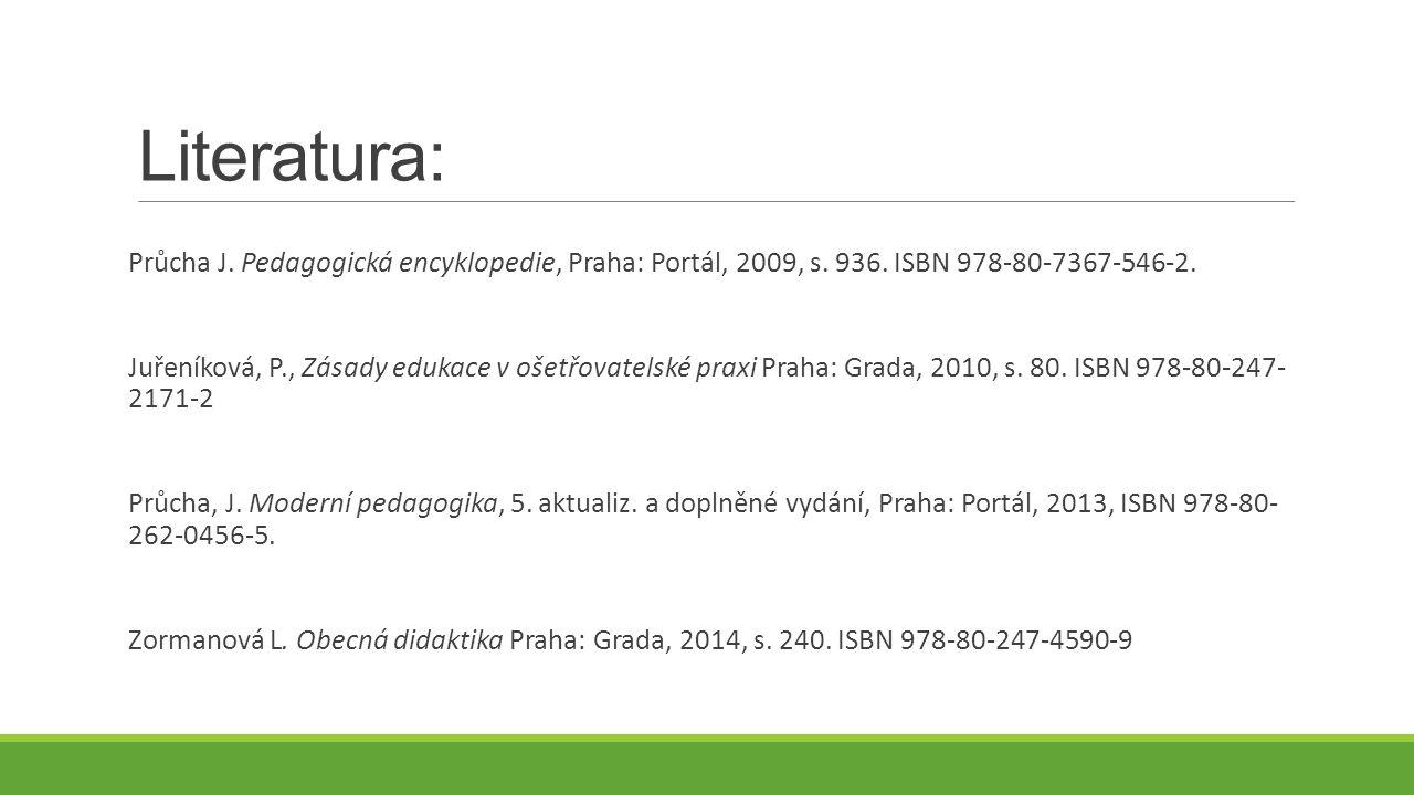Literatura: Průcha J. Pedagogická encyklopedie, Praha: Portál, 2009, s. 936. ISBN 978-80-7367-546-2. Juřeníková, P., Zásady edukace v ošetřovatelské p