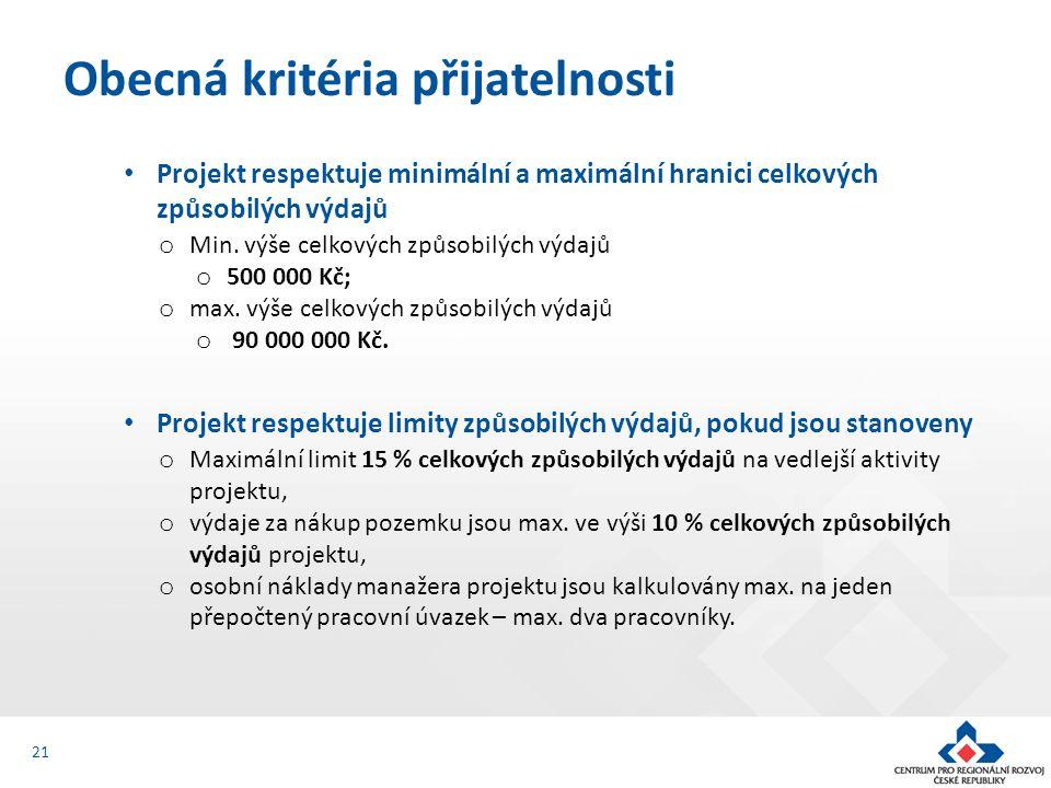 Projekt respektuje minimální a maximální hranici celkových způsobilých výdajů o Min.