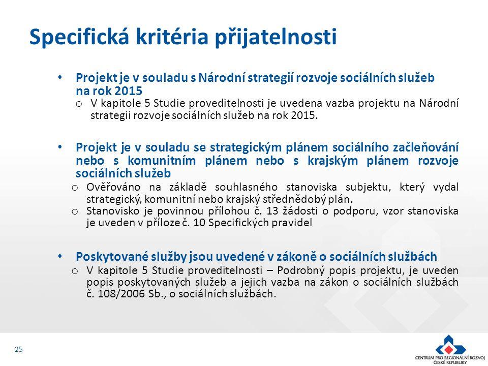 Projekt je v souladu s Národní strategií rozvoje sociálních služeb na rok 2015 o V kapitole 5 Studie proveditelnosti je uvedena vazba projektu na Národní strategii rozvoje sociálních služeb na rok 2015.