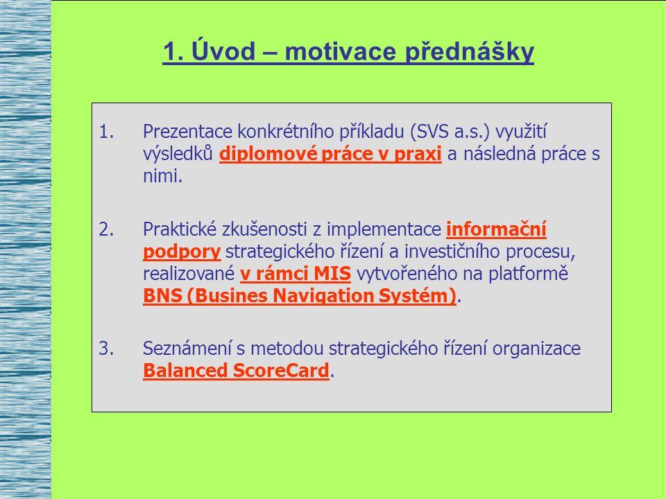 1. Úvod – motivace přednášky 1.Prezentace konkrétního příkladu (SVS a.s.) využití výsledků diplomové práce v praxi a následná práce s nimi. 2.Praktick