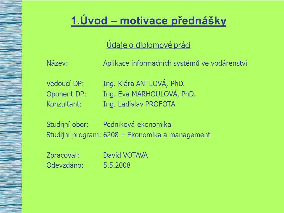 1.Úvod – motivace přednášky Údaje o diplomové práci Název:Aplikace informačních systémů ve vodárenství Vedoucí DP:Ing.