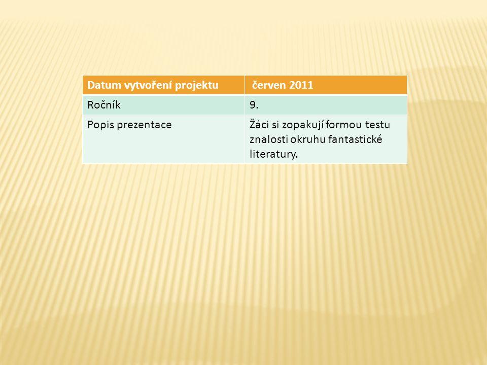 Datum vytvoření projektu červen 2011 Ročník9. Popis prezentaceŽáci si zopakují formou testu znalosti okruhu fantastické literatury.