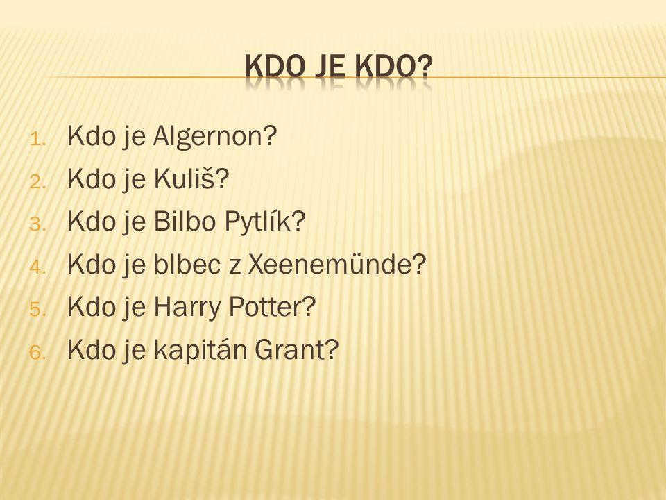 1. Kdo je Algernon? 2. Kdo je Kuliš? 3. Kdo je Bilbo Pytlík? 4. Kdo je blbec z Xeenemünde? 5. Kdo je Harry Potter? 6. Kdo je kapitán Grant?