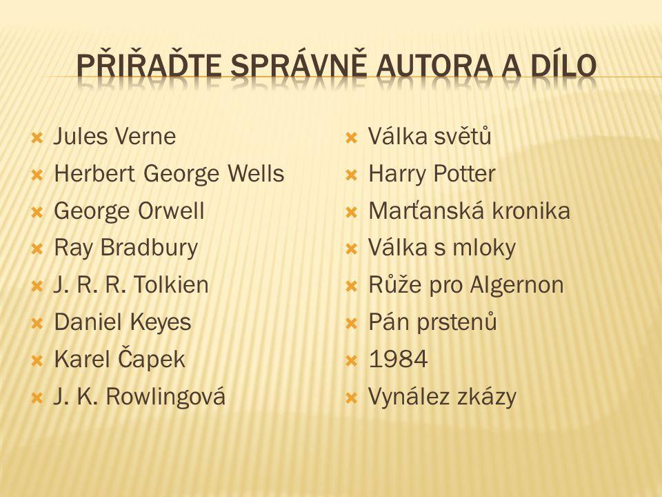  Jules Verne  Herbert George Wells  George Orwell  Ray Bradbury  J. R. R. Tolkien  Daniel Keyes  Karel Čapek  J. K. Rowlingová  Válka světů 