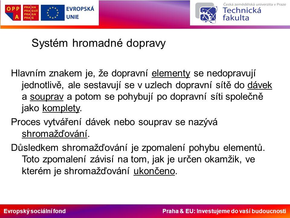 Evropský sociální fond Praha & EU: Investujeme do vaší budoucnosti Systém hromadné dopravy Hlavním znakem je, že dopravní elementy se nedopravují jednotlivě, ale sestavují se v uzlech dopravní sítě do dávek a souprav a potom se pohybují po dopravní síti společně jako komplety.